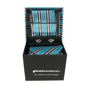 Feraricci Striped Tie Hanky Cufflinks Set New